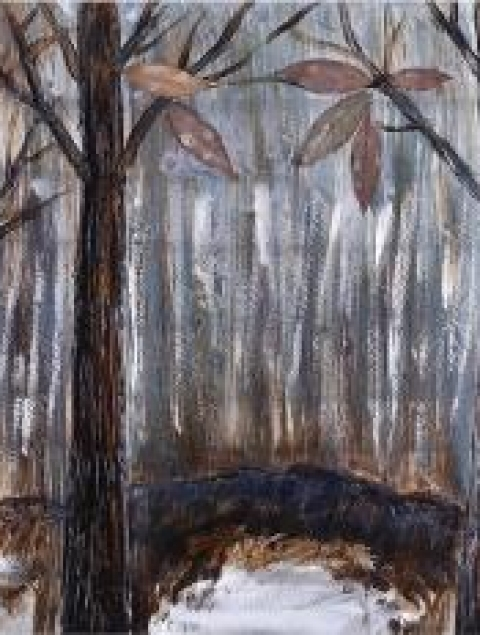 24X47.25 BROWN TREES (ACRYLIC PAINTING ON METAL)
