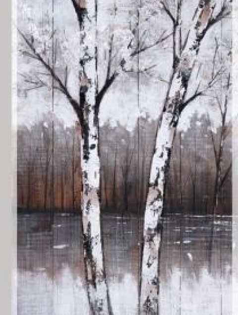 50X21.5 WINTER TREE I (FRAMED HAND PAINTING ON WOOD)