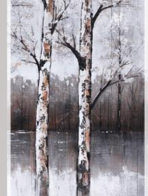 50X21.5 WINTER TREE II (FRAMED HAND PAINTING ON WOOD)