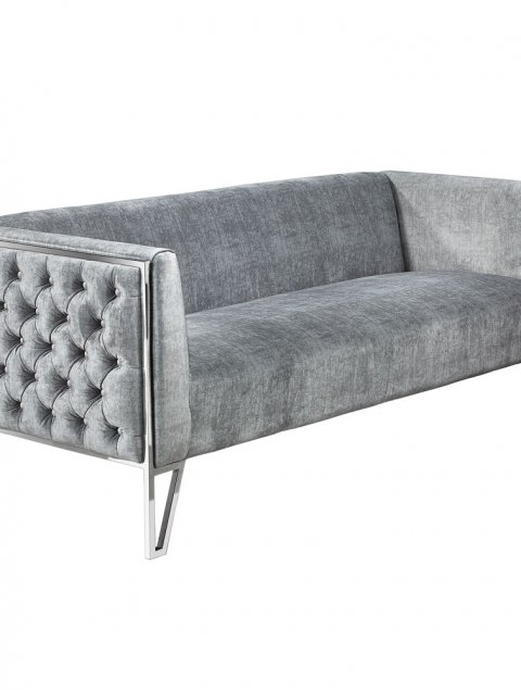 Vermont Grey Distressed Velvet Sofa